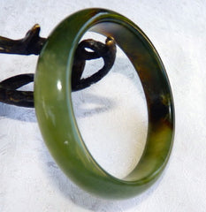 """Personal Power"" Natural Color Chinese Jade Bangle 59mm (NJ2359)"