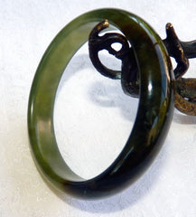 Translucent Deep Green Chinese Jade Bangle Bracelet 60 mm (NJ2593)