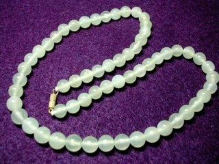 "Classic Translucent Chinese Jade Bead Necklace 18"" (NJNECK-1)"