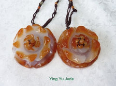 "White Jade with Deep Honey ""Beautiful Flower"" Necklace on Silk Cord with Jade Beads (NJ-NECK-53)"