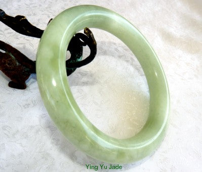 "Classic Round Chinese Jade ""Clouds Over Earth"" Bangle Bracelet 67mm (NJRJ-97)"