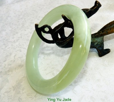 Gorgeous Green Chinese Jade Traditional Round Style Bangle Bracelet 62mm (NJRJ-98)