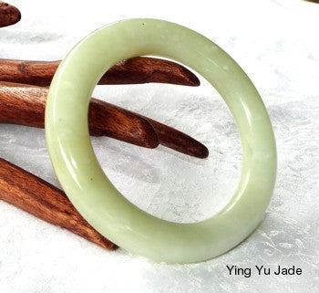 """Tranqulity"" Classic Round Chinese Jade Bangle 61mm (NJRJ70)"