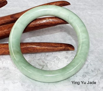 """Flowing River"" Classic Round Chinese Jade Bangle Bracelet 68mm (NJRJ80)"