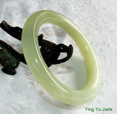 """Let the Light In"" Translucent and Cloudy Chinese Jade Round Bangle Bracelet 67mm (NJRJ88)"
