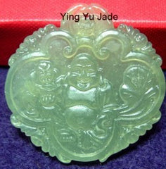 Buddha with Lotus Jade Pendant (P222)