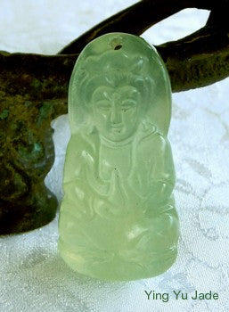 Small Translucent Chinese Jade Guan Yin Buddha of Compassion Pendant or Charm (P570)