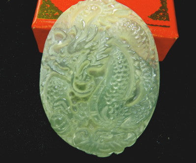 "Translucent ""Dragon and Phoenix"" Chinese Jade Pendant (P-623)"