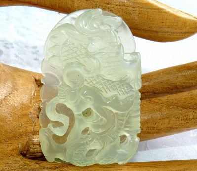 """Dragon and Phoenix"" Translucent Soft Green Well Carved Jade Pendant (P637)"