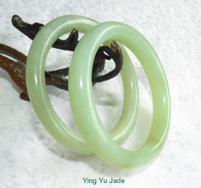 """Sister Set"" Pair of Classic Round Chinese Jade Bangle Bracelets 60mm (Pair-SIS)"