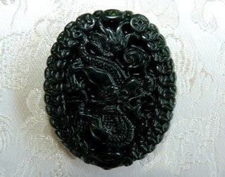 """Yang Dragon Brings Wealth"" Black Chinese Jade Pendant (PBJ-17)"
