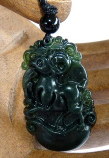 """Black"" Deep Deep Green Auspicious Sheep Goat Ram Chinese Jade Pendant (PBJ-18)"