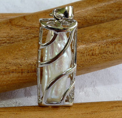 "Chinese Mother of Pearl Pendant in Silver ""Cage"" (Pearl-Pend)"