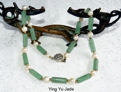 "Last One!-Lucky Jade ""Tube"" and Pearl Necklace-Ying Yu Jade Exclusive"