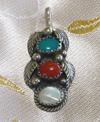Vintage Southwest Native American Sterling Silver Turquoise Coral MOP Pendant (BOX-P-8)
