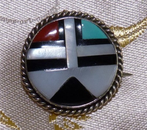 Vintage Arizona Tribal Sterling Silver Turquoise Coral Pendant Pin - Unique )BOX-Pin-11)