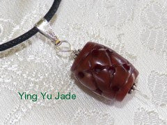 "Red Jade Classic ""Barrel Pendant""-Luck, Wealth"