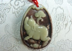 "Red and Green Jade ""Pig Brings Health and Medicine"" and Health"" Pendant PRJ132)"