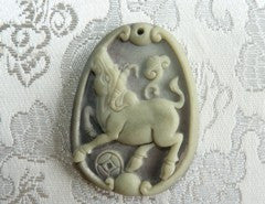 "Chinese Jade ""Ox Brings Fortune"" Red and Green Jade Pendant-Unique Unpolished  (RJ138)"