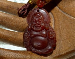 """Blessed Buddha"" Red Jade Pendant (PRJ57)"