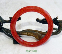 """Chicken Blood Red"" Classic Round Jade Bangle Bracelet 59mm  (NJRJ-59)"