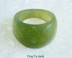 "Classic Chinese Jade ""Flower"" Ring Size 9"