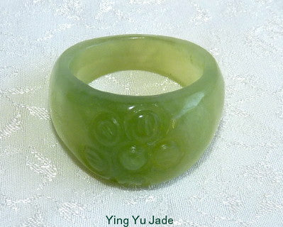 "Classic Chinese Jade ""Flower"" Ring Size 8"