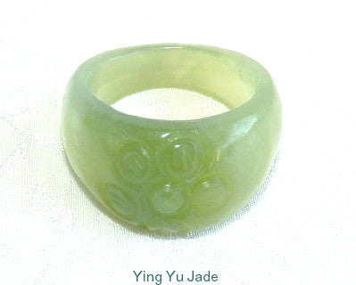 "Classic Chinese Jade ""Flower"" Ring Size 6"