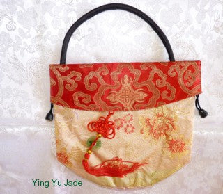 "Red and Gold Chinese Silk Purse with Red Knot and Jade ""Bi"" Accent"