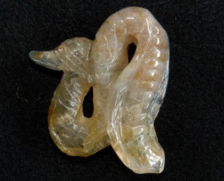 "Translucent Chinese ""River Jade"" Snake Carving / Pendant #3"