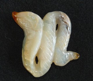 "Translucent Chinese ""River Jade"" Snake Carving / Pendant #5"