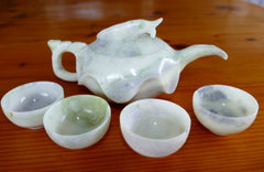 """Wealth and Prosperity"" Fish Chinese Jade Teapot Set (TEA-1)"