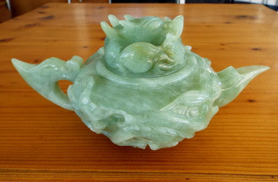 """Power, Strength, Good Luck"" Vintage Classic Chinese Jade Dragon Teapot (TEA-7)"