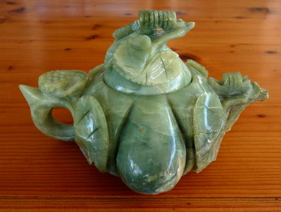 """Descendant's Luck"" Pumpkin Shape Chinese Jade Teapot Hand Carved (TEA-2)"