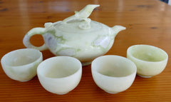 """Flower and Bird"" Carved Jade Teapot Set-Vintage, Rare and Exquisite - [TEA-3]"