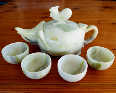 "Auspicious ""Rooster Rides Elephant"" Symbolic Vintage Chinese Jade Teapot Set (Tea-5)"