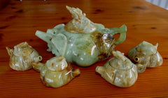 """Pumpkin Pattern"" Jade Teapot Set -Vintage, Rare, One of a Kind  [TEA-6]"