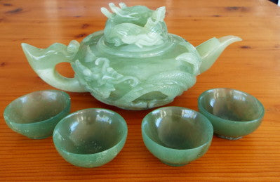 """Power, Strength, Good Luck"" Vintage Classic Chinese Jade Dragon Teapot Set  (TEA-8)"