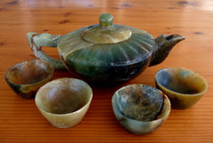 Vintage Dynasty Era Chinese Jade Teapot Tea Cups Set Hand Carved  (TEA-9)