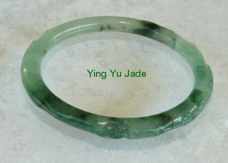 Vintage Estate Classic Round Carved Jadeite Bangle 55.4mm