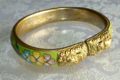 Vintage Cloisonne Oval Bangle Bracelet 66x58mm