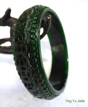 "Vintage Pre-Owned ""Lucky Coins"" Carved Nephrite Jade Bangle Bracelet 56mm (TI-1287)"