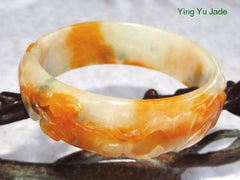 """Two Bats Bring Happiness""  Estate Pre-Owned Fu Lu Shou 3 Color Carved Jadeite Bangle Bracelet 56mm (TI-1290)"
