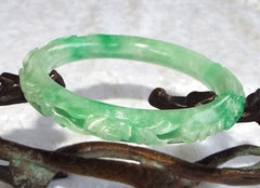 Estate Pre-Owned Carved Lucky Coins, Peach, Bird,Lingzhi and More Jadeite Jade Bangle 53.5mm (TI-1292)