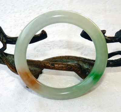 "Vintage Pre-Owned Classic Round ""Fu Lu Shou"" Jadeite Bangle Bracelet 57mm (V1303)"