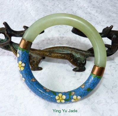 Vintage Pre-Owned Chinese Jade and Blue Cloisonne with Flowers Bangle Bracelet 65mm (TI-1307)