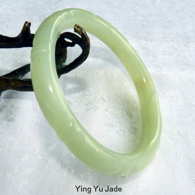 Vintage Estate Bamboo Carved Chinese Jade Bangle Bracelet (TI-1310)