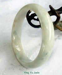 "Vintage Estate Pre-Owned Tiny ""Mysterious"" Color  Veins Jadeite Jade Bangle 59mm (TI-2778)"