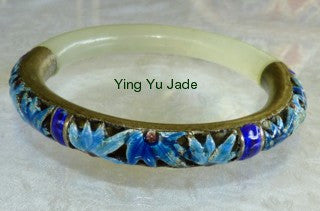 Estate Jade Enamel and Silver Bangle 64mm