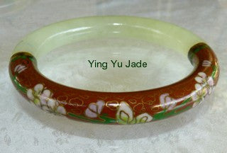 Vintage Estate Red Cloisonne and Jade Large Bangle 67mm (V679)